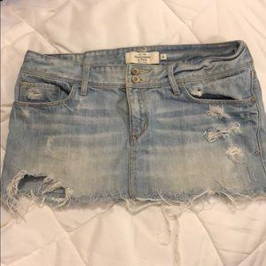 A&F distressed denim mini skirt
